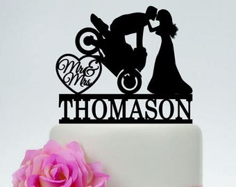 Motorcycle Wedding Cake TopperMr And Mrs TopperGroom On Custom