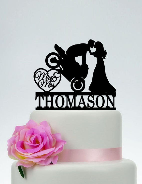 Motorcycle Wedding Cake TopperMr And Mrs TopperGroom On