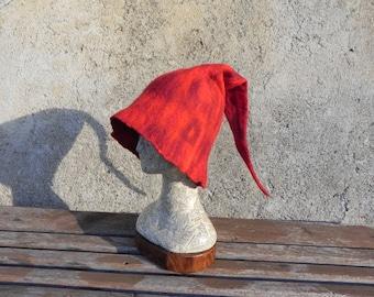 Elf felted red hat cosplay pixie felt hat, pointed hat, soft felt red elven hat, fantasy hat