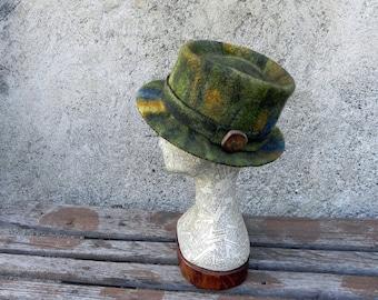 Unique green fedora felted hat, artistic fedora felt hat, unique felt hat, green yellow brown one of a kind felt hat OOAK