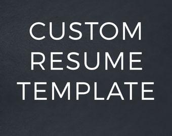 Custom Resume Template / Custom Resume Design for Word & Pages / CV Design