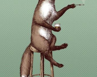 Fox at the Bar Print