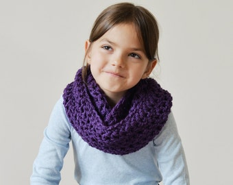 Girls' Scarf, Girl's Snood Scarf, Kids' Winter Scarf, Childrens' Circle Scarf, Winter Scarf for Kids, Winter Fashion Accessories, Purple