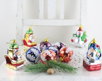 Colorful 70s vintage christmas tree balls decoration christmas balls handwork christmas decoration fir tree decorations vintage