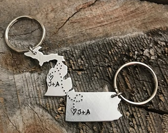 Personalized Initials Keychain ANY State hand stamped Keychain gift long distance relationship gift couples boyfriend girlfriend gift BFF