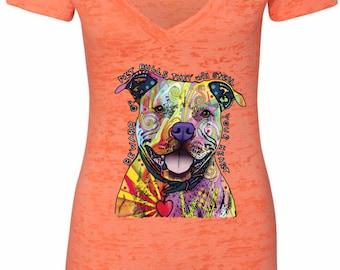 Ladies Beware of Pit Bulls Burnout V-Neck Shirt 20149NBT2-NL6540