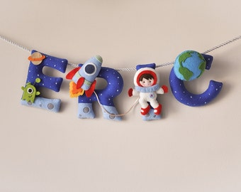 Felt name banner, Outer Space name banner, nursery decor, personalized gift, felt letters, baby girl gift, name garland, custom made banner