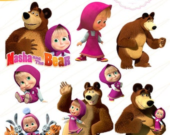 Summer sale Masha and the Bear Cliparts, instant download, PNG background files MC-0244