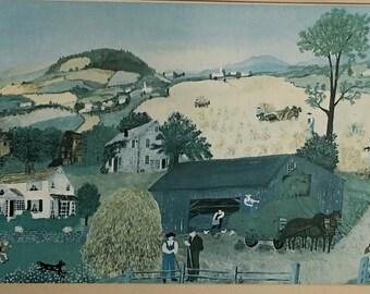 """Grandma Moses """"Harvest Time"""" Art Framed Serigraph 1945  17 x 11 ( framed 24x17 )"""