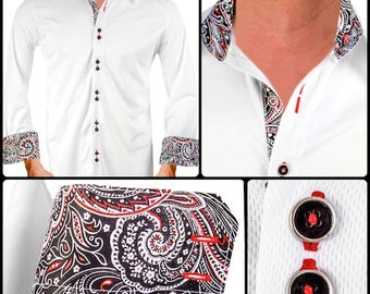 White with Black and Red Paisley Moisture Wicking Dress Shirt - Made in USA