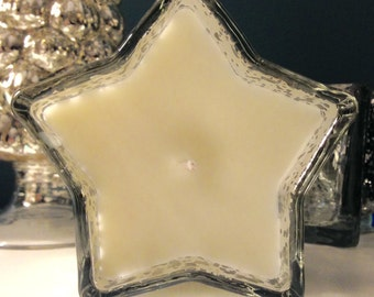 Mercury Silver Glass Star Fragranced Scented Candle, Soy Wax, Handmade, Candle, 150ml Designer Bespoke Candle, Jo Malone,