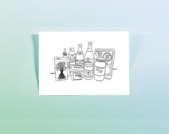 Asian Food Drawing - Digital Download - Condiments: Miso, Mirin, Pocky, Rice Noodles, Sriracha, Sambal Oelek, Etc.