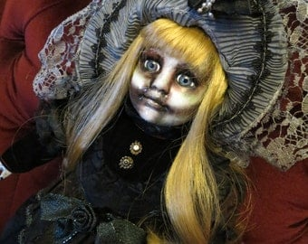 OOAK-Gothic-Zombie-Undead-Vampire-Creepy--Horror-Hand-Painted-Porcelain-Doll-Tannon