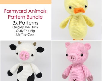 Crochet Amigurumi Duck, Pig and Cow PATTERNS ONLY Bundle, Farmyard Animals, Special Offer, pdf Stuffed Toy Pattern, English Only