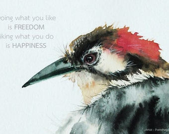 Bird art inspirational quote  meaningful and  precious image  for  unique  room decoration or great gifts.