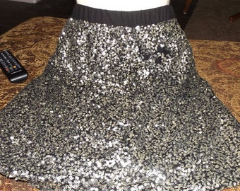 SALE Womens Black Silver Sequined Metallic Skirt XL