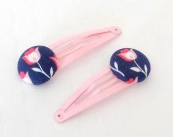 Button Hair Clips, Fabric Button Hair Clip, Pink Hair Clip, Girls Hair Clip, Floral hair clips, Baby hair clips, Hair clips for girls