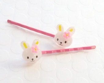 Bunny bobby pins, Bobby Pins, Girls Bobby Pins, Girls Hair pin, Girls Bobby Pin, Baby Bobby Pins, Pink Bobby Pins, Fun Hair Accessory