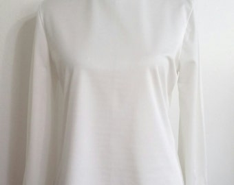 Roll neck top, S, M, white turtleneck, 70s turtleneck, 70s roll neck top, white blouse, white top, white shirt
