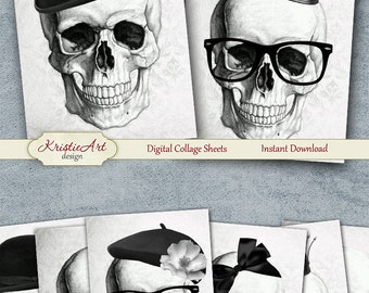 75% OFF SALE Fashion Skull - Digital Collage Sheet Digital Cards C192 Printable Download Image Tags Digital Image Atc Halloween Cards ACEO