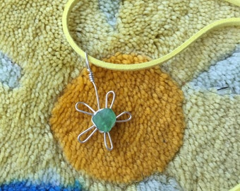 Green Sea Glass Flower Necklace