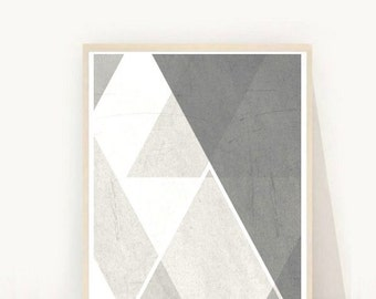 Printable Art, Geometric Print, Grey Triangle print, Scandinavian Art, Home Decor, Wall Decor, Instant Download