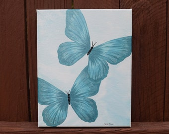 Original Teal Blue Butterfly Painting on 8x10 Canvas