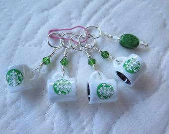 Knitting Stitch Markers Starbuck's Coffee Knitting Stitch Markers Beaded Stitch Markers