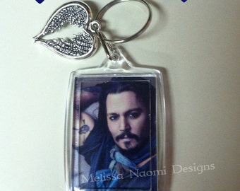 Johnny Depp Keychain With Silver Winged Heart Charm, Actor Johnny Depp, Captain Jack Sparrow, Mad Hatter, Edward Scissorhands, Johnny Love
