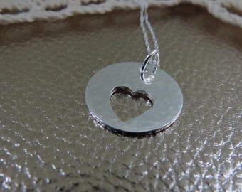 Sterling silver heart pendant, heart pendant, silver pendant, silver heart pendant, cut out heart pendant, heart necklace, silver necklace