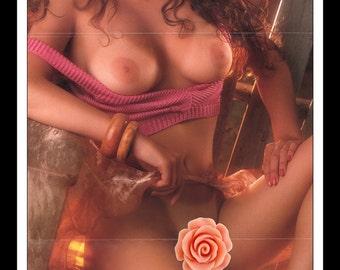 "Mature Playboy October 1987 : Playmate Centerfold Brandi Brandt Gatefold 3 Page Spread Photo Wall Art Decor 11"" x 23"""