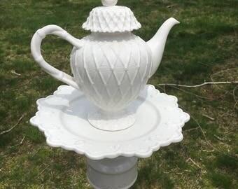 White teapot whimsy - teapot garden decoration - ceramic garden stake - upcycled bird feeder - garden whimsy - teapot feeder - Gift for Mom