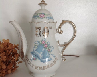 "Vintage 50th Wedding Bells Anniversary Teapot by Norcrest Tall 9"" Teapot 