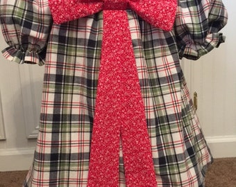 Toddler Dress, 2T-3T Red and Green Plaid with contrasting  red bow