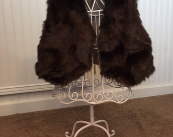 Faux Fur Baby Girl Vest, lined, Size 12 mos -2T, Dark Brown Mink
