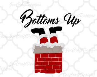 Bottoms Up SVG Wine glass Santa Christmas Design Clipart Cut File Png SVG Eps Dxf Instant Download Silhouette Cameo Cricut Design Space