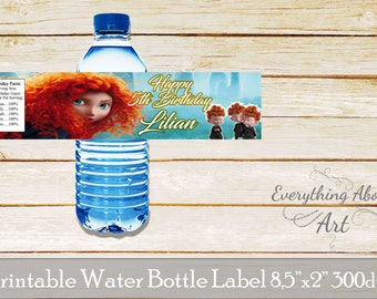 Brave water bottle label, Brave birthday party, Princess Melinda birthday party, Brave birthday, Printable labels Brave theme