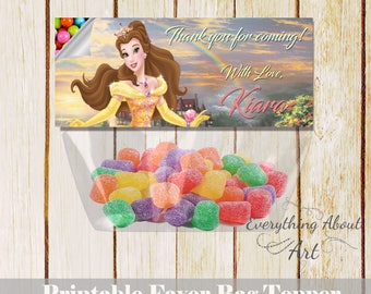 Princess Belle favor bag topper Beauty and the beast birthday Printable favor bag topper candies Princess Belle thank you topper