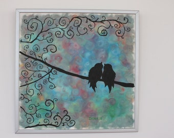 Oil painting Love Birds