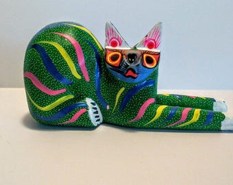 Luis Sosa Calvo Cat Colorful Mexican Folk Art Cat Missing Tail