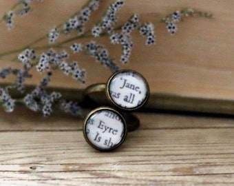 Jane Eyre double book page ring. Charlotte Bronte.  Book Page Jewelry. Statement ring