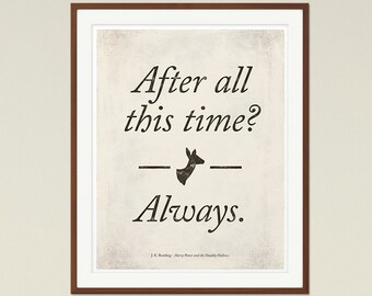Snape Always Love Quote Poster Medium, Literary Quote Print,  Valentines Day Gift, Harry Potter Quote, Literature Art, Instant Download