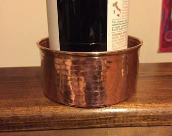 "Hammered Copper wine bottle coaster (4"" diameter)"