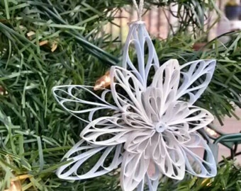 Christmas Winter Snowflake/Star Quilled Ornament Filigree (in soft blue, gray, and white)