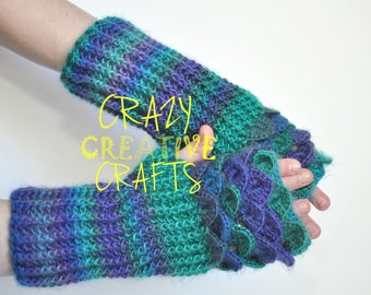 Adult size crocheted fingerless gloves