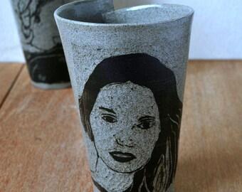 Coffee & Tea Cup, Handmade Pottery Mug,  Handmade Pottery,  Housewarming Gift, Grey Coffee Mug, Sgraffito Pottery Mug, Gift for Her
