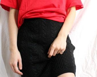 the Chevron Plait Pencil Skirt in Black -VIDEO vintage (90s knitwear deadstock)