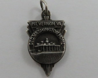 Mt.Vernon V.A. Geo Washington Home Sterling Silver Vintage Charm For Bracelet