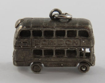 London Double Decker Bus Silver Vintage Charm For Bracelet