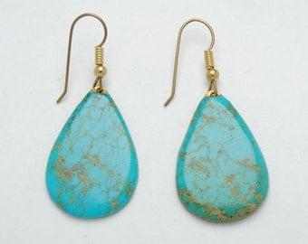 turquoise earrings - native american turquosie jewelry - vintage earrings - naturel turquoise earrings - vintage jewelry - boho earrings
